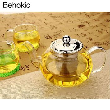 Behokic 800ml Clear Glass Teapot High Temperature Resistant Loose Leaf Flower Tea Pot with Stainless Steel Infuser Strainer Lid