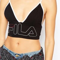 Fila Cropped Bralet Top With Front Logo at asos.com