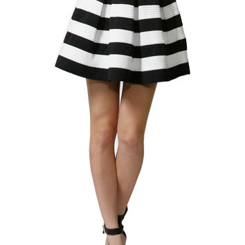 Pleated Stripe Print A-Line Skater Skirt