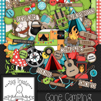 Go Camping Digital Scrapbook Kit.  Camping, Outdoor Themed Scrapbook Kit, Digital Papers, Clip Art, Words and More. **INSTANT DOWNLOAD***