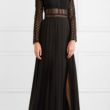 Self-Portrait - Guipure lace and crepe maxi dress
