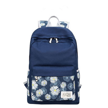 Preppy style Women Bookbags Dandelion Floral Printing Backpack Bags Canvas Cute School Backpacks for Teenage Girls