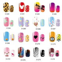 NEW Cute 14 Tips Self Adhensive Nail Wraps Full Cover Foil Galaxy Nail Tips Mixed Styles Nail Sticker Decals