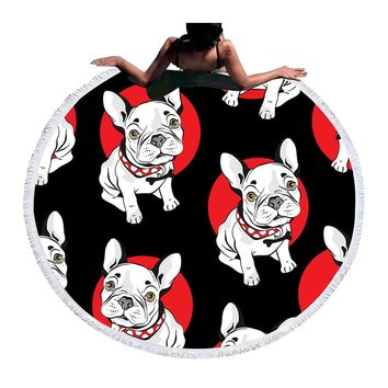 BeddingOutlet Bulldog Round Beach Towel Printed Serviette De Plage Large Towel Cartoon Microfiber Bath Toalla 150cm