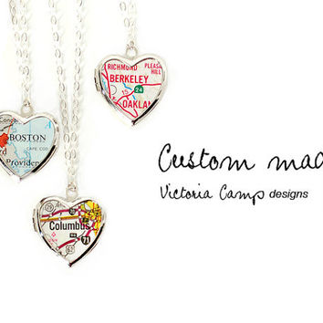 Custom Silver Map Necklace, Vintage Heart Locket, Personalized Map Jewelry, Map Locket, Sterling Silver Chain - Made to Order