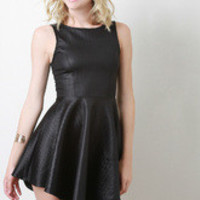 Quilted Asymmetrical Skater Dress