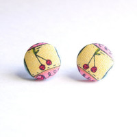 Cherries Print Fabric Covered Button Earrings NICKEL FREE