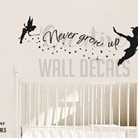 Vinyl Wall Decal Sticker Peter Pan Tinkerbell Never Grow Up Nursery Fairy r1898
