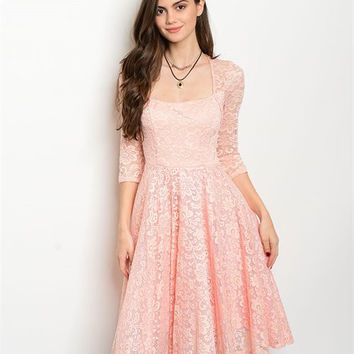 * BLUSH LACE DRESS