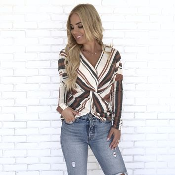 Midwest Sunrise Stripe Twisted Top
