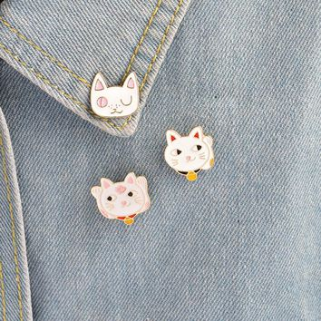 Trendy 3 pcs/lot cartoon cat metal badges brooch button pins denim jacket pin jewelry decoration badge for clothes lapel pins AT_94_13