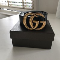 Gucci Marmont GG Black Leather Belt