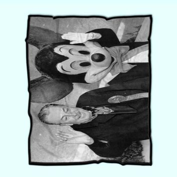 Walt Disney And Mickey Mouse In Photography Fleece Blanket