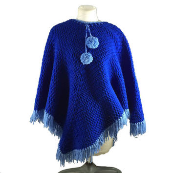 Vintage Handmade Crochet Poncho Boho Hippie Chic Retro Knit Cape Blue Sweater With Fringe Pom Pom Knit