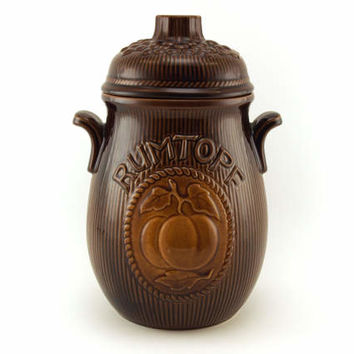West German Pottery, Rumtopf jar, Scheurich,  Brown, oker,  rumpot 820-28 W. Germany,