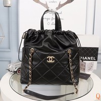HCXX 19Sep 532 Fashion Leather Crossbody Pouch Quilted Chain Tote Casual Bucket Bag Size 35cm