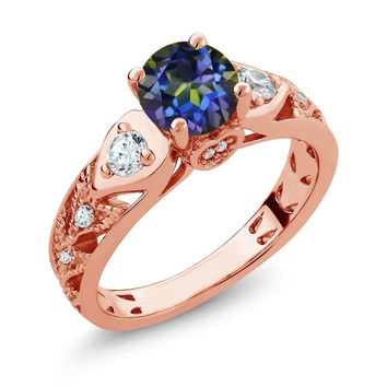 Round Blue Mystic Topaz 18K Rose Gold Plated Silver Ring