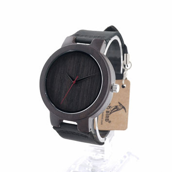 BOBO BIRD C022 Mens Fashion Casual Wood Watches With Red Pointer Mens Designer Watches Luxury Brand Quartz Watch in Gift Box