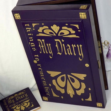 FREE P0ST. LARGE Journal diary storage. LOCKABLE wooden box & free matching blank 80 page mini diary. Royal Purple. Can be personalised.