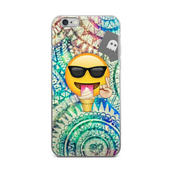 Ice Cream Cool Crossed Fingers Emoji Teen Cute Girly Girls Green & Blue iPhone 4 4s 5 5s 5C 6 6s 6 Plus 6s Plus 7 & 7 Plus Case