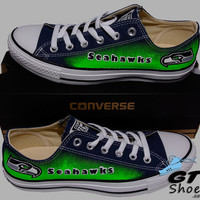 Hand Painted Converse Low Sneakers. Seattle Seahawks. Go Hawks. Football. Superbowl.12th man. Handpainted shoes. V2.5 green eyes.