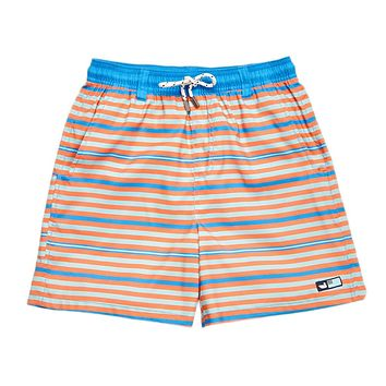 Youth Dockside Swim Trunk in Blue & Orange Stripes by Southern Marsh