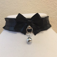 all black pleated TUG PROOF kittenplay petplay collar with O ring ball post!!