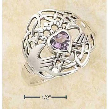 Sterling Silver Ring:  Heart Shaped Amethyst Claddagh Ring