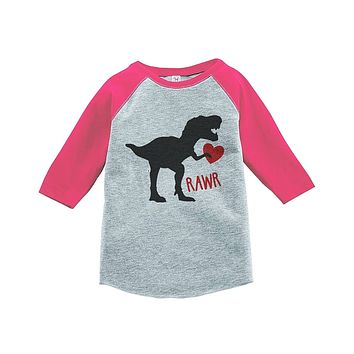 Custom Party Shop Kids Dinosaur Happy Valentine's Day Pink Raglan