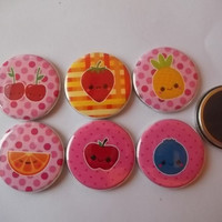 6 Kawaii Fruits Magnet  Back Buttons 125 by Funcreations5 on Etsy