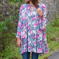 Magically Floral Tunic Dress {Grey Mix}