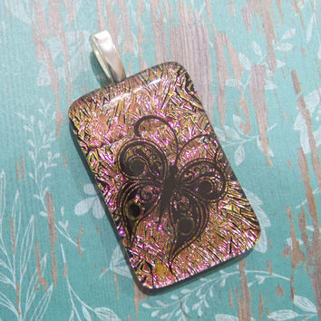 Butterfly Pendant, Pink Dichroic Pendant, Black Butterfly, Handmade, Fused Glass Jewelry - Carolina- - 6