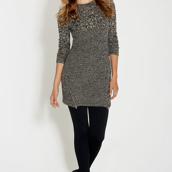 marled knit sweater dress with zippers