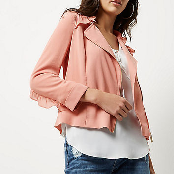 Pink frill biker jacket - Coats / Jackets - Sale - women