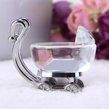 1PC Artificial Crystal Baby Carriage Crafts Nursery Ornaments for Baby Shower Decoration Party Favors Birthday Gifts