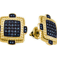 Blue Diamond Micro Pave Earrings in Gold-plated silver 0.4 ctw
