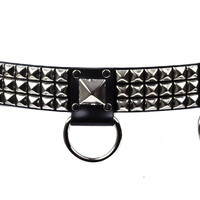 """3-Row Pyramid Silver Stud Belt Real Leather 1-1/2"""" Wide"""