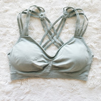 A Sporty Strappy Bralette in Sage