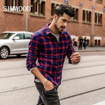 Spring Men Flannel Plaid Shirt Cotton Casual Long Sleeve Shirt Slim Fit Styles Man Clothes