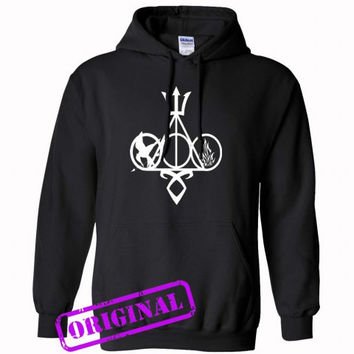 Harry Potter, Percy Jackson, Mortal Instruments, Hunger Games, and Divergent for hoodie black, hooded black unisex adult
