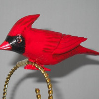 Cardinal Christmas Ornament, Carved Clip on Cardinal