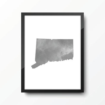 Connecticut state art print - Watercolor - Gray