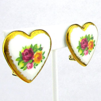 Royal Albert Porcelain Heart Earrings clip on