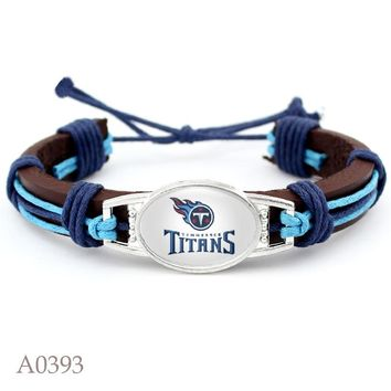 Tennessee Titans Logo Adjustable Genuine Leather Bracelet for Men Women Fashion USA Football Charm Leather Cuff Jewelry 10PCS