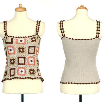 Granny Square Top - Sleeveless Crochet Sweater - Upcycled Vintage Neutral Color Vest