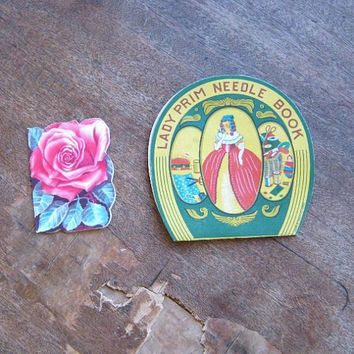 Antique 'Lady Prim' Needle Book/Occupied Japan + Figural Rose-Shape Sewing Needle Folder; U.S. Shipping Included