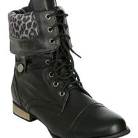 Leopard Fold Combat Boot | Shop Just Arrived at Wet Seal