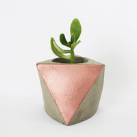 Concrete mini planter - Gray Cement - copper colour
