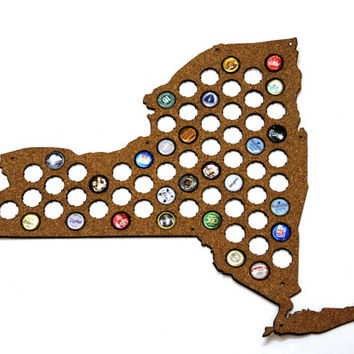 Beer Cap Map NEW YORK State USA, Beer Cap Holder, Beer Cap Display, Beer Aficionado Gift for Him, Groomsmen gift, Father's Day Cork, Plywood