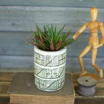Tall Geometric Ceramic Planter